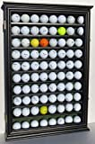 Large 80 Souvenir Golf Ball Display Case Holder Cabinet, with glass door, Solid Wood