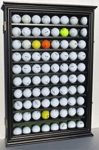 80 Golf Ball Display Case Cabinet with Glass Door, Solid Wood, GB80-BLA