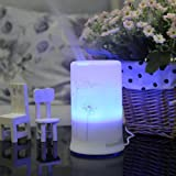 flyingBee 100ML White with lotus Pattern Ultrasonic Aroma Diffuser Humidifier with 4 Timer Settings and 7 Color Changes