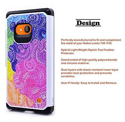 Nokia Lumia 730 /735 Case, NageBee - Design Premium Heavy Duty Defender Dual Layer Protector Hybrid Phone Cover Case by NageBee