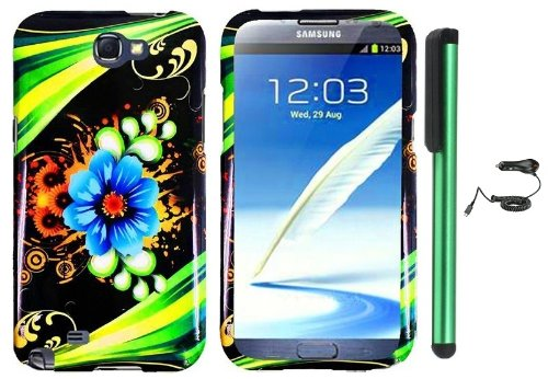 #>>  Blue Aqua Flower Green Stripes On Black Design Protector Hard Cover Case for Samsung Galaxy Note II N7100 (AT&T, Verizon, T-Mobile, Sprint, U.S. Cellular) Android Smart Phone + Luxmo Brand Car Charger + Combination 1 of New Metal Stylus Touch Screen Pen (4
