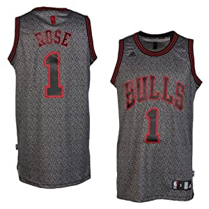 Chicago Bulls Adidas NBA Derrick Rose #1 Static Swingman Jersey (Gray) by adidas