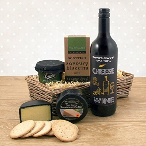 Cheese Wine and Pate Gift Basket - Always Time for Cheese and Wine Hamper with a Bespoke Wine Label Available for Next Day Delivery - Ideal for Birthdays Thank You Gifts and Anniversary Occasions