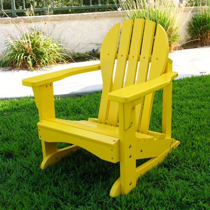 Kids Adirondack Chair Rocker In Yellow