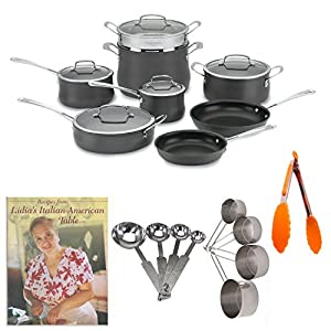 Cuisinart 13-Piece Contour Hard Anodized Cookware Set Bundle with Cookbook and Kitchen Tools