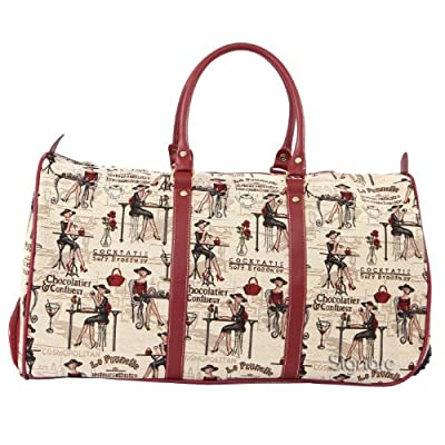 Signare Canvas Tapestry Wheeled Pull Along Holdall Coffee, Tea or Me