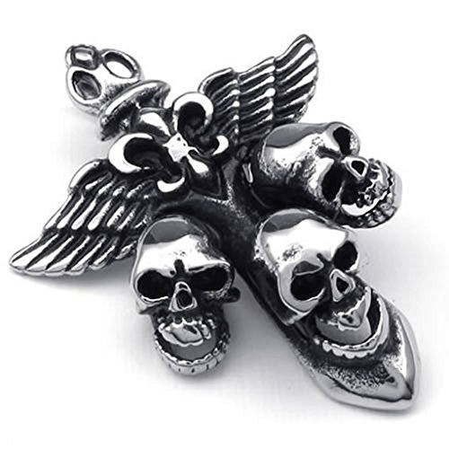 [Stainless Steel Necklaces, Men's Pendant Necklace Skull And Wings 22 Inch] (Roller Skating Costumes)