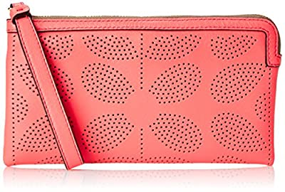 Orla Kiely Sixties Stem Punched Leather Flat Zip Wallet from Orla Kiely