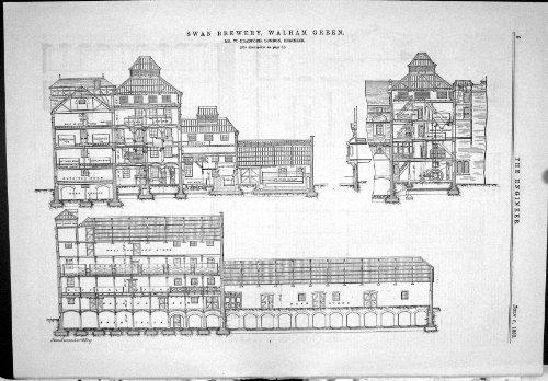 old-original-antique-victorian-print-1883-swan-brewery-walham-green-bradford-plan-chimney-shaft-006j