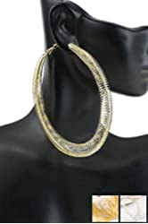 "Basketball Wives Medium Silver Tone Spring Texture 2.5"" Hoop Earrings"
