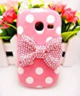 White Pink Cute 3D Bling Red Pink Bow Dot Pattern Case Cover For Samsung Galaxy Discover S730G S730M S740 R740C /Cricket, Centura S738C /Straight Talk /Net10 (Pink Bow)