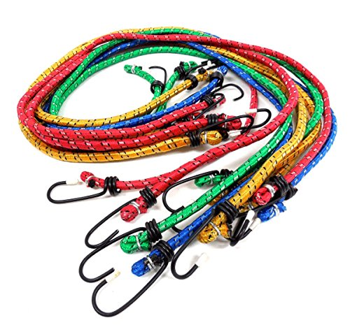 """Ate Pro. Usa - 10 Pc. 8Mm X 36"""" Bungee Cord Set,Assorted Color, Black Steel Hooks, Perfect For Camping Tent Tarps Cars Trucks Trailers Garden Garage Storage Moving Or Shipping Basket ,Etc front-80138"""