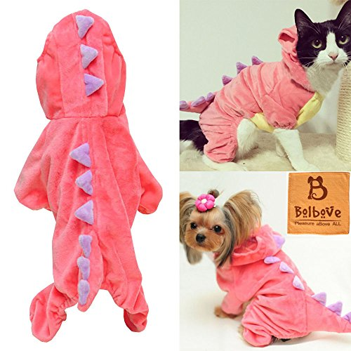 Pet Plush Outfit Dinosaur Costume with Hood for Small Dogs & Cats Jumpsuit Winter Coat Warm Clothes (Pink, X-Large)
