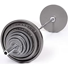 USA Sports by Troy Barbell 300 lb. Olympic Grey Weight Set with Chrome Bar by USA Sports