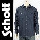 (ショット) Schott ウェスタンシャツ デニム インディゴ DENIM WESTERN SHIRT 3155003-88 長袖 M
