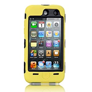 NTK Premium For iTouch iPod Touch 4 4G Silicone Case with Hard Shell Inside Case With Built In Touch Screen Protector Film 2 Layer Case -Yellow
