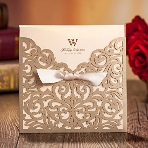 Wishmade 50pcs Gold Square Laser Cut Lace Wedding Invitations Engagement Marriage Bridal Shower Birthday Cards with Bow Hollow Favors (set of 50pcs)