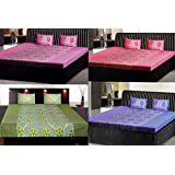 India Furnish 100% Cotton Flower Design Double Bedsheets With Pillow Covers Combo Of 4 Sets- Blue,Dark Pink,Pink...