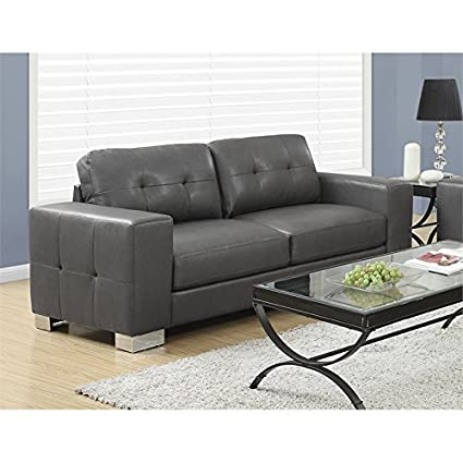 Monarch Specialties Sofa - Charcoal Grey Bonded Leather