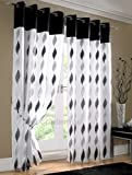 MODERN Eyelet FULLY LINED Voile Panels Luxury Ring Top Ready Made Voile Curtains Black ( white silver grey ) 56x90 inches ( extra long drop ) bay window