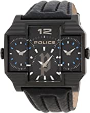 Police Hammerhead Men's Watch with Black Dial Analogue Display and Black Leather Strap 13088Jsb/02