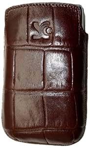 Original Suncase Echt Ledertasche für BlackBerry Torch 9810 in croco-braun