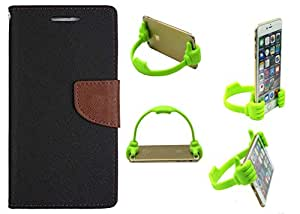Novo Style Book Style Folio Wallet Case Nokia Lumia 535 Black + Ok Stand For Smartphones And Tablets