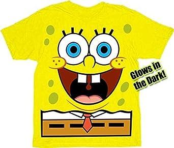 Spongebob Squarepants Jumbo Glow-in-the-Dark Yellow Adult T-shirt (Adult Small)