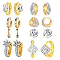 Jewels Galaxy Precious Collection Of Fancy American Diamond Earrings - Combo Of 7