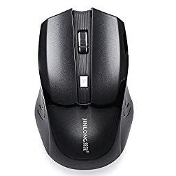 JINLONG Rechargeable 2.4GHZ Wireless Computer Game Mouse with 50 Days\' Battery Life (Black)