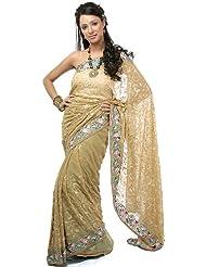 Exotic India Khaki Sari With Parsi Embroidered Flowers All-Over - Khaki