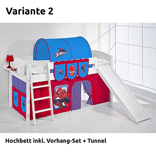 Hochbett Spielbett IDA Spiderman, mit Rutsche und Vorhang, weiß, Variante 2