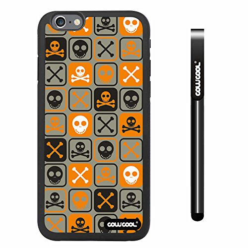 Cowcool® Apple Iphone 6 4.7 Inch Soft Silicone Cross Matrix Cute Skull With Black Shell Single Layer Protective Case (Light Brown)