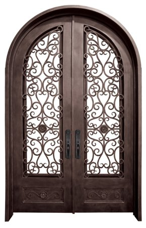 WI-25B Pre-hung wrought iron security entry doors with multi locking system