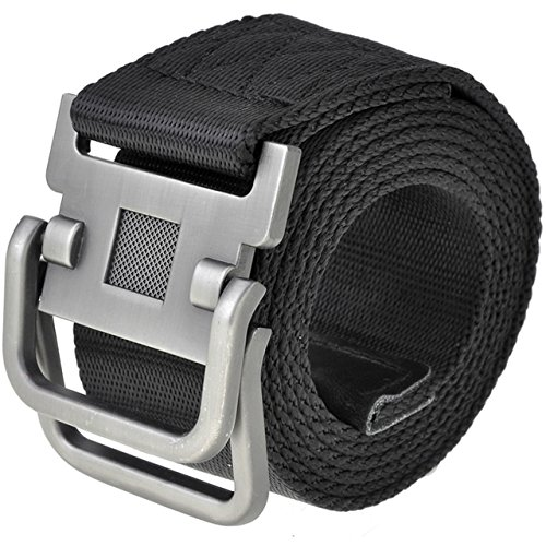 Ayliss® Men's Soft Nylon Canvas Belt Double D-Rings Zinc Alloy Buckle Waistbelt (Black) (Belt With Rings compare prices)