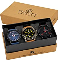 Gesture Analog Combo Of Three Beautiful Watches - GA-7500