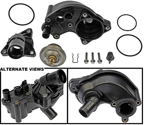 APDTY 013971 Thermostat Kit w/ Upper & Lower Water Outlet Housing & All O-ring Seal Gaskets For 2002-2010 Ford Explorer/ 2002-2010 Mercury Mountaineer 4.0L (Complete Fix For The Common Leaking Thermostat Housing) (Explorer Engine compare prices)