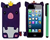 Dark Purple Cute Pig Yellow Crown Silicone Skin Premium Design Protector Soft Cover Case Compatible for Apple Iphone 5 (AT&T, VERIZON, SPRINT) + Combination 1 of New Metal Stylus Touch Screen Pen (4
