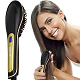 Molain Haarglätter ,elektrische Haarbürste mit Verbrühschutz und Antistatik( schwarz)