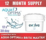 Aqua Optima Evolve 30-Day Water Filter 12 pack - 12 months' supply. Also fits Brita* Maxtra*