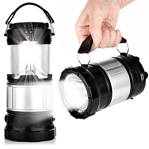 Solar Camping Lantern, APPHOME Portable Outdoor Rechargeable LED Camping Lamp Light Handheld Flashlights with USB PowerBank Collapsible Camping gear for Hiking Fishing Emergencies Hurricane Outages