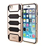 "JOTO iPhone 6 4.7 Case - Premium Armor Hybrid Bumper Cover Case (Dual Layer: Flexible TPU + Hard PC) Exclusive for Apple iPhone 6 4.7"", with premium metal effect coating (Gold PC + Silver TPU)"