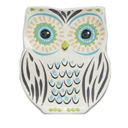 Natural Life PDSH070 Folk Owl Tray, Mint and Pink