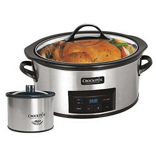 NEW! CrockPot 6 Quart Stainless Slow Cooker with Little Dipper Food Warmer (Recipes Included), Silver/Black Finish (Crock Pot Smudge Proof compare prices)
