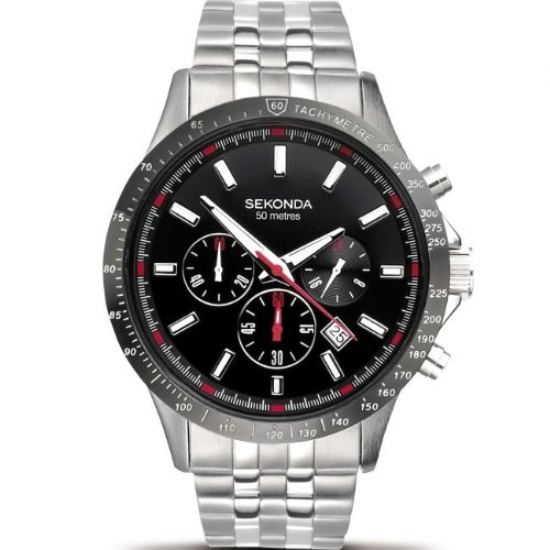 Sekonda Men's Quartz Watch with Black Dial Chronograph Display and Stainless Steel Bracelet 3064