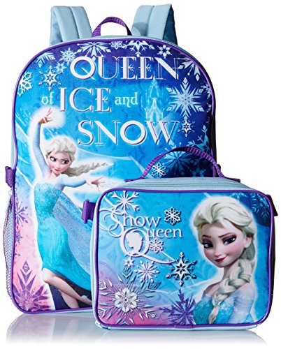 Disney Girl's Frozen Elsa Backpack with Lunch Kit, Blue, One Size