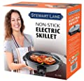 Stewart Lane Energy Efficient 13.5 Inch, 3.7 Qt Non-Stick Electric Skillet With Glass Cover Lid, 400 Deg Blk Stylish Round Cook Fry Stew Roast Bake Slow Cook Buffet Cater Serve Breakfast Lunch Dinner