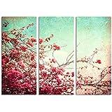 120x70cm flowers im vintage style t rkis rot braun - Wandbild altrosa ...