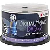 DigitalMovie DVD R 4.7GB 8X Recordable Disc Spindle Pack Of 25 And Free 6 Feet Netcna HDMI Cable - By NETCNA