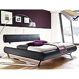 Polsterbett Cabelio 180x200 anthrazit Kunstleder + Lattenrost + Matratze Designerbett Doppelbett Ehebett Futonbett